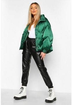 Midnight green Zig Zag Panel Satin Puffer Jacket