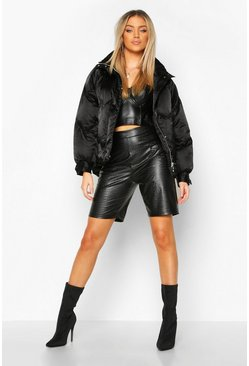 Black Zig Zag Panel Satin Puffer Jacket