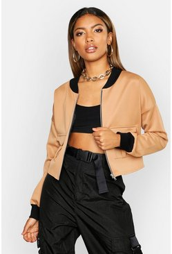 Pocket Detail Bomber Jacket, Camel, Donna