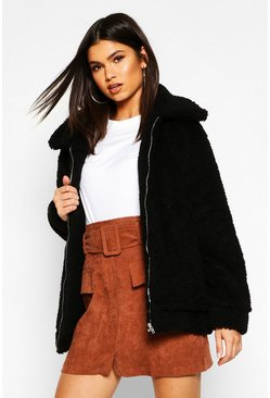 Oversized Teddy Faux Fur Bomber Jacket, Black