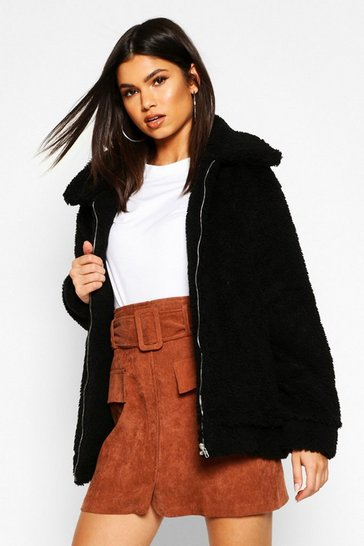Oversized Teddy Faux Fur Bomber Jacket