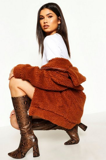 Brown Oversized Teddy Faux Fur Bomber Jacket