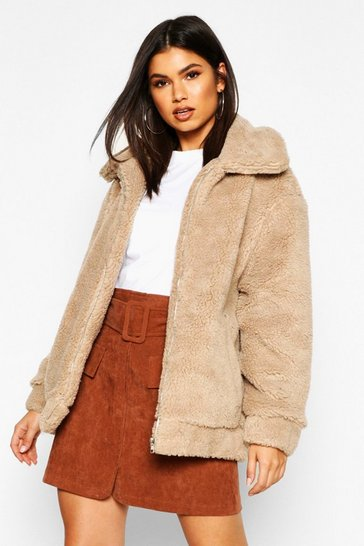 Womens Cream Oversized Teddy Faux Fur Bomber Jacket