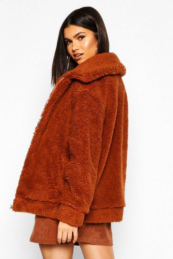 Oversized Teddy Faux Fur Bomber Jacket