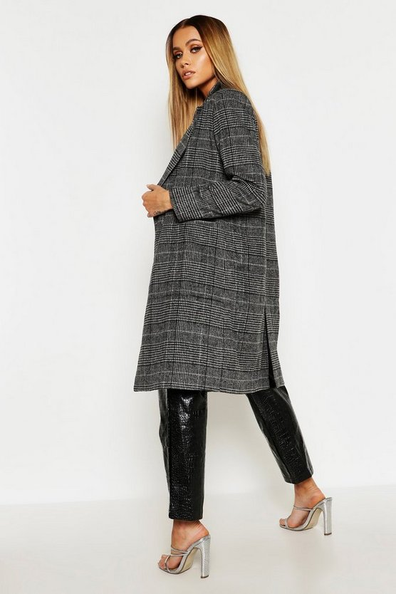 Check Collared Wool Look Coat