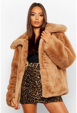 Sand Collared Faux Fur Crop Jacket
