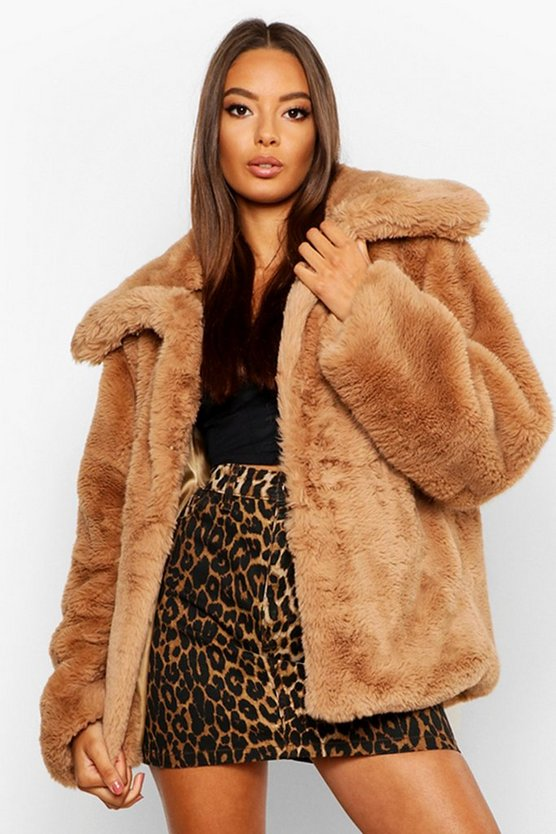 Womens Sand Collared Faux Fur Crop Jacket