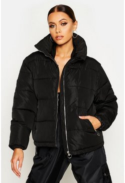 Funnel Neck Puffer Jacket, Black