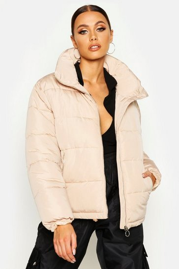 Womens Stone Funnel Neck Puffer Jacket