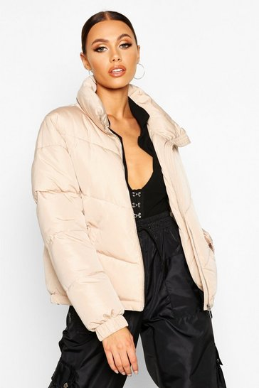 Womens Stone Funnel Neck Zip Detail Puffer
