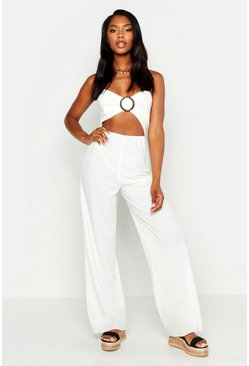 Womens Ecru Ring Detail Linen Look Jumpsuit