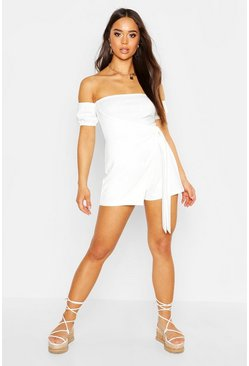 Womens White Wrap Front Skort Playsuit