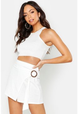 Womens White Linen Look O Ring Skort