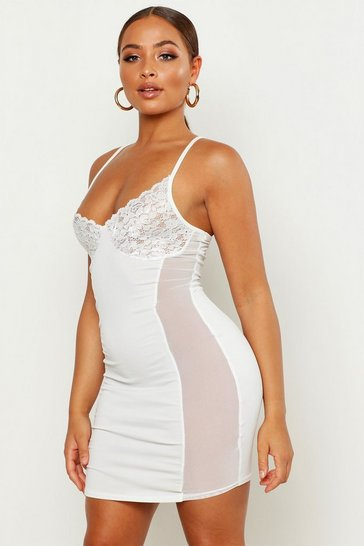 Womens White Lace Cup Mini Dress With Mesh Side Panels