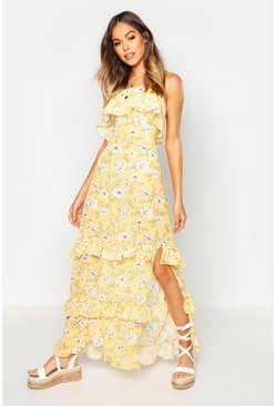 Bandeau Frill Tiered Maxi Dress, Yellow, MUJER