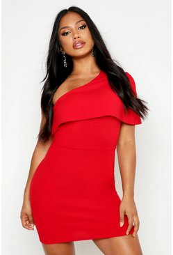 Womens Red One Shoulder Bodycon Dress
