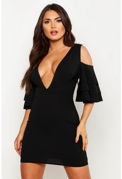 Womens Black Plunge Triple Ruffle Bodycon Mini Dress