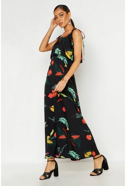 Woven Leaf Tie Double Layer Maxi Dress, Black, DAMEN