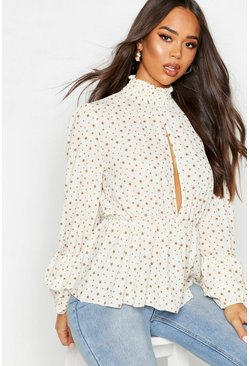 Ivory Woven Star Plunge Blouse