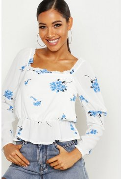 Womens Blue Woven Ditsy Floral Peasant Top