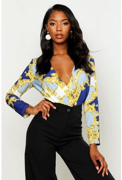 Womens Blue Satin Chain Print Wrap Bodysuit