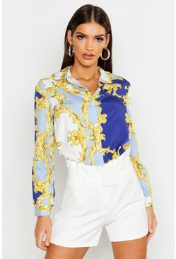Satin Chain Print Shirt, Blue, ЖЕНСКОЕ