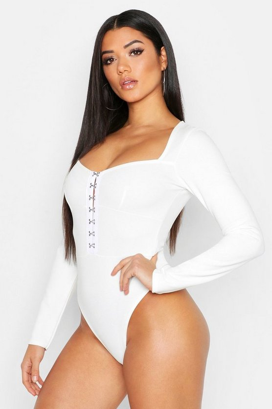 Womens Ivory Hook And Eye Corset Long Sleeve Body