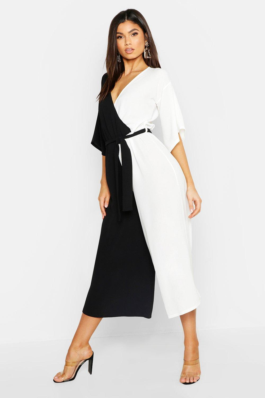 70s Dresses – Disco Dress, Hippie Dress, Wrap Dress Contrast Belted Wrap Jumpsuit  AT vintagedancer.com