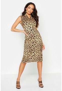 Leopard Print Collared Midi Dress, Brown, MUJER