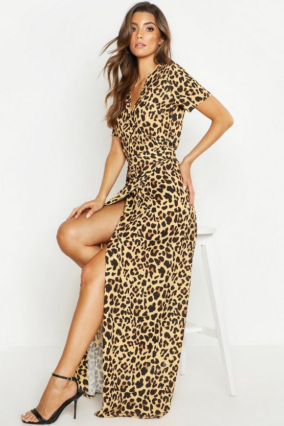 Womens Brown Leopard Print Wrap Maxi Dress