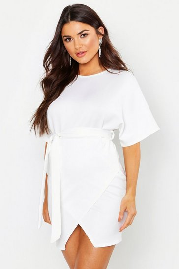 Womens Ivory Crew Neck Belted Wrap Dress