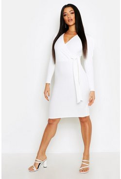 Volume Sleeve Wrap Midi Dress, Ivory, MUJER