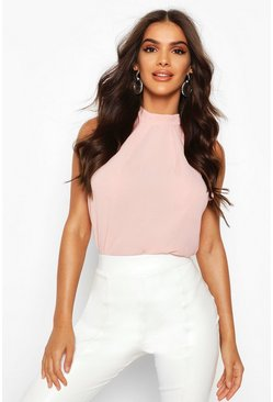 Blush High Neck Sleeveless Blouse