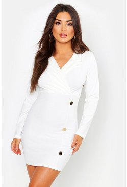 Womens Ivory Button Detail Blazer Dress