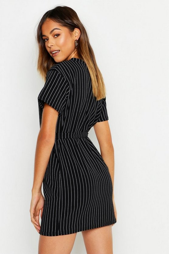 Pinstripe Buckle Detail Belted Shift Dress