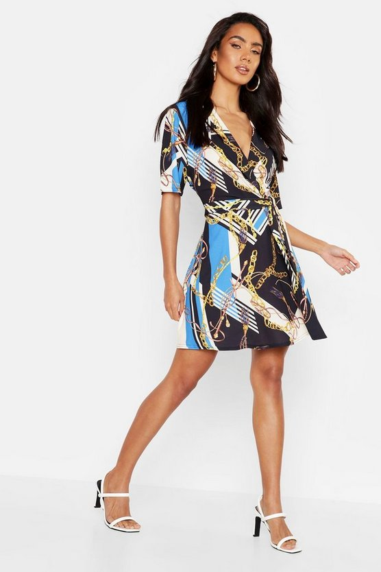 Womens Black Chain Print Collar Detail Wrap Dress