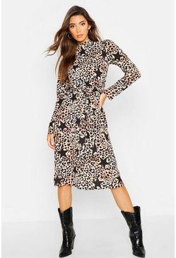 Womens Brown Leopard Star Print High Neck Belted Midi Dress
