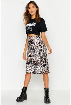 Womens Brown Leopard Star Print Satin Wrap Midi Skirt