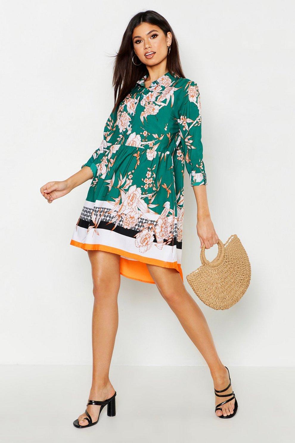 8b7f373e35cd9 Woven Floral Border Print Smock Dress | Boohoo