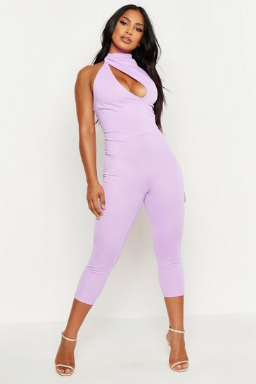 Womens Lilac High Neck Cut Out Jumpsuit