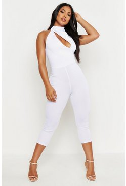 White High Neck Cut Out Jumpsuit