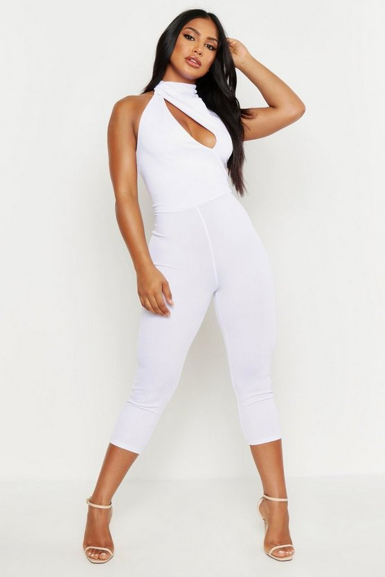 Womens White High Neck Cut Out Jumpsuit