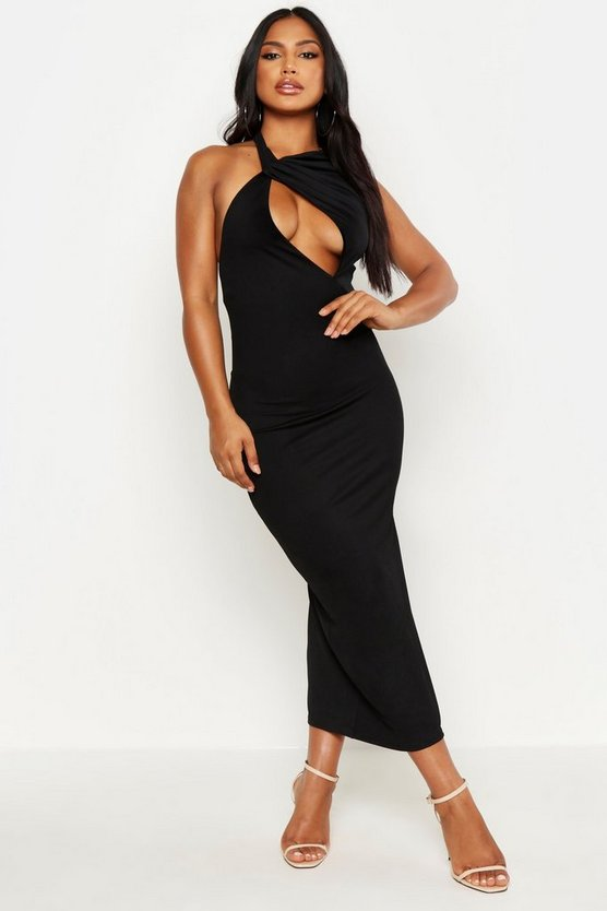 Black High Neck Cut Out Bodycon Midi Dress