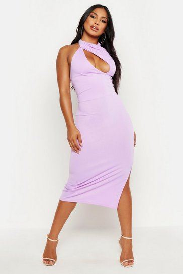 Womens Lilac High Neck Cut Out Bodycon Midi Dress