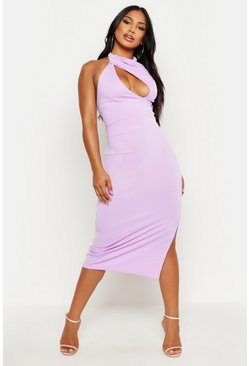 Womens White High Neck Cut Out Bodycon Midi Dress