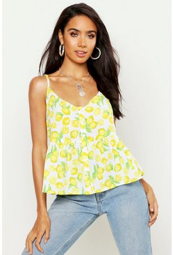 Lemon Print Peplum Cami, Yellow, Donna