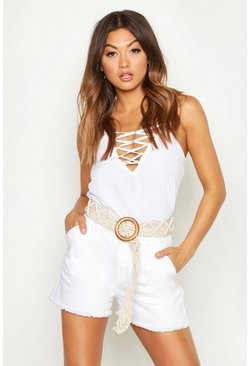 White Lace Up Plunge Woven Cami