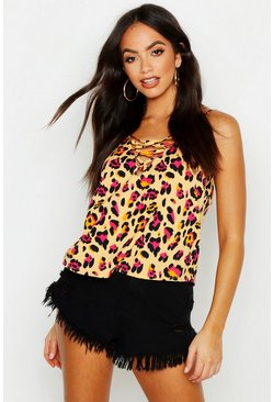 Womens Yellow Lace Up Leopard Print Woven Cami