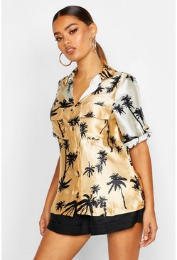Womens Tan Palm Print Utility Short Sleeve Shirt