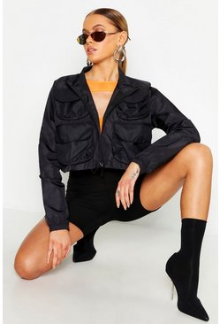 Womens Black Double Pocket Crop Sports Jacket